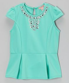 Trendy from its peplum silhouette to its pops of shimmering gems, this top is just the thing for days when breezy charm is in demand. Its structured tailoring, back button closure and sleek materials with a hint of stretch make sporting this number a cinch.