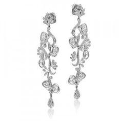 #Diamond Slice #Flower #Earrings