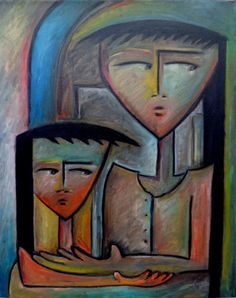 Angel Botello style Mother Child Cubist Abstract Painting 16x20 ART Signed 2012 #Cubism