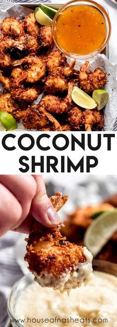 There is something completely irresistible about crispy fried Coconut Shrimp dipped in your favorite sweet chili sauce or pina colada dipping sauce. This coconut shrimp recipe is restaurant-quality but actually really easy to make at home and way less expensive! It's one of our favorite appetizers ever! #coconut #shrimp #best #easy #homemade #restaurant #appetizer #fried #baked