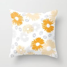 Yellow and gray flowers Throw Pillow by oanadara Custom Design, Throw Pillows, Blanket, Yellow, Create, Grey, Fabric, Flowers, Pattern