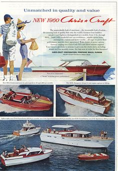 1960 Chris Craft Boat Vintage Art x Reproduction Metal Sign Vintage Boats, Vintage Art, Bateau Rc, Mad Men Poster, Chris Craft Boats, Classic Wooden Boats, Office Prints, Wood Boats, Retro Ads