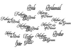 Wedding Embroidery, Bridal set of many separate designs* Machine Embroidery Designs - 4x4, 5x7  * Bride Bridesmaid Groom Sister Brother Maid of Honor Matron of Honor Mother of the Bride - 2 versions Mother of the Groom - 2 versions Father of the Bride - 2 versions Sister of the Bride - 2 versions Sister of the Groom - 2 versions Brother of the Bride - 2 versions Brother of the Groom - 2 versions Sizes 4 inches 6 inches 7 inches   ----FORMATS INCLUDED---- PES DST JEF EXP XXX VIP HUS VP3  ART…