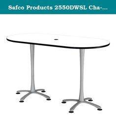 "Safco Products 2550DWSL Cha-Cha Racetrack Table Top with Bistro Height Dual Pedestal Base, 72""W x 36""D x 42""H, Designer White Top/Silver Base. Cha-Cha Teaming Tables offer the workspace a multitude of options to define and redefine meeting, conference and collaboration spaces. The 42""H bistro-height teaming table is designed with an X-style dual pedestal base that features leg levelers to ensure your table doesn't wobble on uneven surfaces. Table Top features 1"" thick high pressure…"