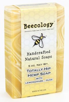 Totally Hip Hemp Soap  Make a natural statement while enjoying the many benefits of our hemp soap. Treat your skin to the gentle cleansing and balancing of hempseed oil, one of nature's best antioxidants and antiseptics and an amazing source of skin-nourishing essential amino and fatty acids.    Beecology Totally Hip Hemp Soap blends the light, nutty fragrance of hempseed oil with geranium and the aromatic citrus of lemongrass. Soap this responsible has never smelled so wonderful.     We…