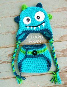 Monster crochet hat and diaper cover set. $35.00, via Etsy.