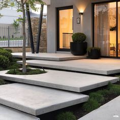 What is your thought about this? - Every detail of the floating stairs in trowel finish concrete has been carefully considered to assist in… Modern Landscaping, Backyard Landscaping, Landscaping Ideas, Modern Backyard, Backyard Patio, Exterior Stairs, Exterior Shutters, Concrete Stairs, Outdoor Stairs