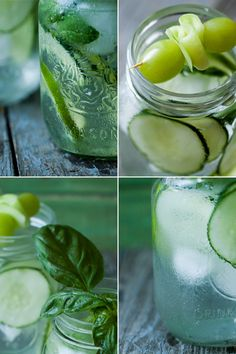 Flavoured water in beautiful glass jars.