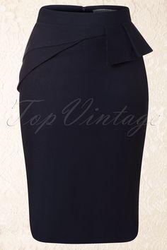 Mikarose - 50s Divine Peplum Skirt in Navy