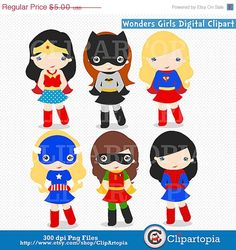 50 OFF SALE Wonders Girls Digital Clipart / by ClipArtopia on Etsy, $2.50