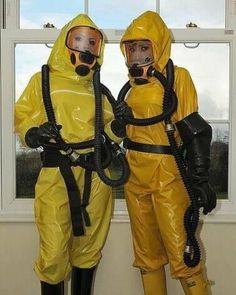 Double yellow Latex and Gas Mask Fetish Latex Babe, Latex Catsuit, Gas Mask Girl, Rubber Catsuit, Hazmat Suit, Country Wear, Heavy Rubber, Yellow Raincoat, Diving