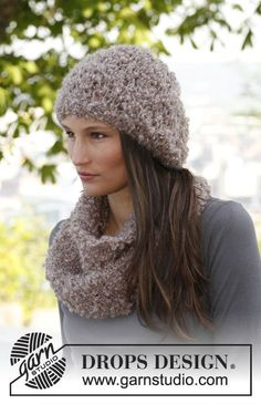 "Set consists of: Knitted DROPS hat and neck warmer in ""Puddel"". ~ DROPS Design -- would be perfect for ""fluffy"" types of yarn!"