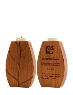 A great retirement or service award, our laser-engraved Aspen Candle Holder is made from FSC®-certified cherry. An eco friendly trophy alternative!