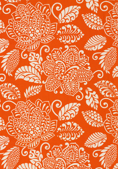 Waterbury Trail printed cotton fabric in Orange from the Avalon Collection by #Thibaut #tangerinetango #bigboldflorals