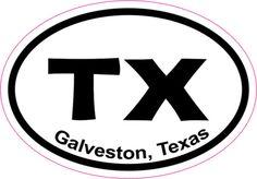 3in x 2in Oval Galveston Sticker Vinyl Texas City Vehicle Bumper Stickers