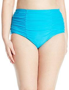 6c5654add2093 InMocean Women s Plus Size Allure High Waist Solid Bikini Bottom