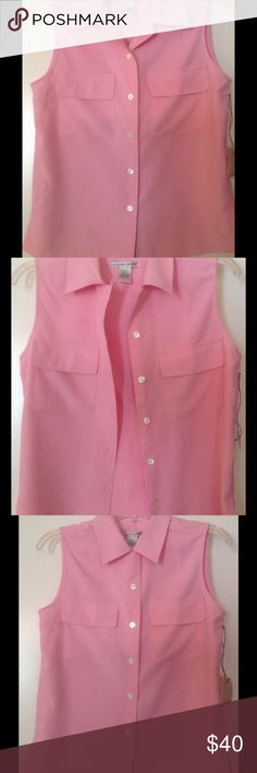 Jillian Jones 100% silk sleeveless shirt This beautiful warm pink color shirt is perfect to wear with jeans or white summer pants. Mother of pearls buttons are extra touch! Two front pockets are really nice and that gives to shirt sporty look. Jillian Jones Tops Button Down Shirts