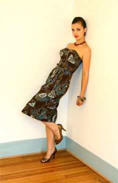 Vintage 1960s Tiki Dress Strapless Retro Atomic by posiesforlulu, $210.00