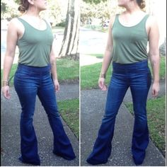 bell bottom jeans large thank you Jeans Flare & Wide Leg