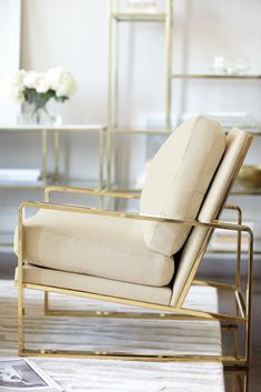Bernhardt Interiors Dorwin Chair Polished Brass Finish Shown Armchair With Gold Legs Ivory Leather Seater Couch Ektorp Sofa Baby Glider And Ott Solid Oak Wood Furniture Dfs Lounge Design, Chair Design, Sofa Lounge, Home Furniture, Furniture Design, Luxury Furniture, Street Furniture, Chaise Vintage, Deco Design