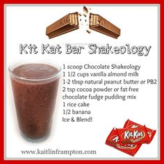 Get Shakeology SAMPLE: kmsframpton@gmail.com MORE RECIPES: www.kaitlinframpton.com This tastes JUST like a KIT KAT BAR it is AMAZZZZINGGGG!!! Not only that, but it has super nutrients like ASHWAGANDA in it that helps protect your body against DAILY *STREST* and boosts your immune system, and helps to lower blood pressure!