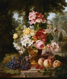A Vase of Summer Flowers and Fruit on a Ledge in a Landscape - William John Wainwright