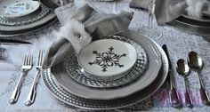 A Winter Wonderland inspired tablescape in silver and white.