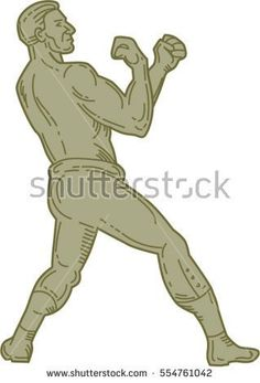 Mono line style illustration of a boxer in a fighting stance pose viewed from the side set on isolated white background.  #boxer #monoline #illustration