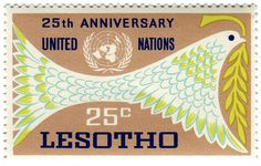 Lesotho postage stamp: United Nations bird