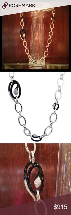 "NWT Belle Étoile Sterling Silver Mamba Necklace NWT Belle Étoile Sterling Silver Mamba Necklace.  Approximately 33"" in length.  Stunning black enamel pavé intricately woven snakes on a bold Sterling silver link chain.  You are sure to get compliments on this unique piece! Belle Étoile Jewelry Necklaces"