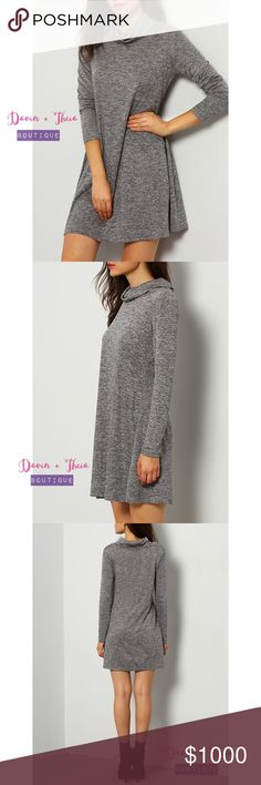 Jersey Gray High Neck Casual Dress Not only are we keeping our necks nice and snuggled in this slouchy long-sleeved layer, but gray shift jersey fabric gives you much comfort. Fabric has some stretch. Material is Jersey. Limited quantity, only 1 for each size.  PRICE is FIRM 10% OFF if BUNDLED NO Trades Davin+Theia Dresses Long Sleeve