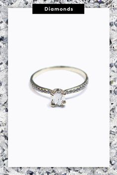 The teeny rough-cut diamond, caged in a yellow-gold setting, is enhanced by the even teenier black diamonds that line the band. #refinery29 http://www.refinery29.com/new-engagement-ring-trends#slide-9