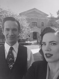Hayley and James on the set of Agent Carter