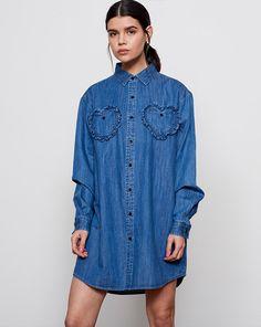 Lazy Oaf Frilly Hearts Denim Shirt - Everything - Categories - Womens Lazy Oaf, Daily Look, Asian Style, Denim Shirt, Streetwear Fashion, Korean Fashion, Street Wear, Shirt Dress, Blouse