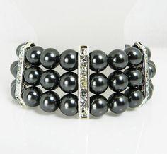 Black Pearl Cuff Bracelet Wedding Bridal by UrbanPearlStudio, $45.00