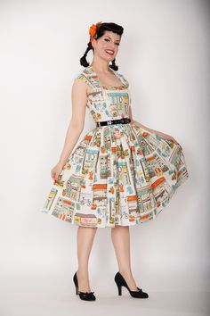 Bernie Dexter Veronique dress - this is basically identical to Sewaholic Cambie! It's got me thinking that it's time to combine my two sewing obsessions - Cambie dress and Michael Miller Eiffel Tower fabric.