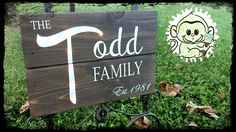 """11""""x16"""" LED Lit Reclaimed Wood Family Name Signage. Handpainted by Chelsey of Monkey Fingers Crafts! Www.facebook.com/monkeyfingerscrafts"""