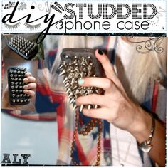 """DiY studded phone case"" by the-tip-girls-of-neverlan on Polyvore. Only I'd do it with flat studs, so it could still fit in my pocket."