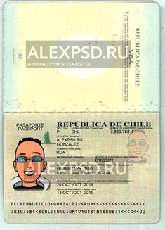 Chile passport - ALEXPSD Passport Template, Photoshop, Visa, Psd Templates, Chile, Names, Passport, Chili