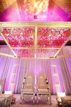 #indoor decoration_white curtains_pink rose petals