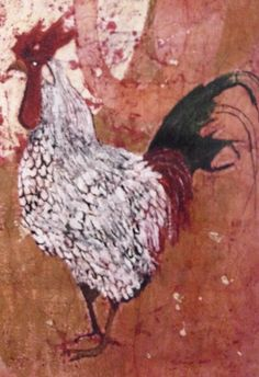 Folk Art Rooster print, oversized, from original watercolor batik painting on rice paper vintage like, 20x29, uniquely colored