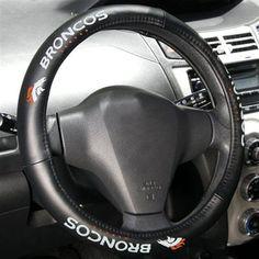 Denver Broncos Black Leather Steering Wheel Cover