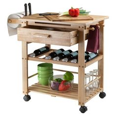 Finland Kitchen Cart - Winsome Wood ultimate kitchen cart, the Natural Finland cart provides bevy of storage options and a spacious workspace. Hide utensils and cutlery in the deep drawer, keep wine bottle safe and sound on the rack, towels on e Boho Kitchen, Wooden Kitchen, Kitchen Items, Rustic Kitchen, Kitchen Storage, Kitchen Decor, Kitchen Organization, Kitchen Paint, Kitchen Layout