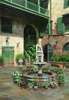 New Orleans French Quarters Courtyard ~ Brulatour Courtyard, French Quarter, New Orleans, Louisiana French Courtyard, Courtyard Design, Patio Design, New Orleans Homes, New Orleans Louisiana, Las Vegas Hotels, New Orleans Architecture, Southern Architecture, Landscape Architecture