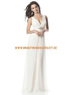 V-Ausschnitt sexy schlichtes Brautkleid aus Chiffon Bodenlang A-Linie