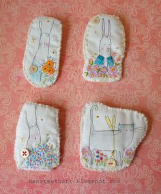 hand stitched brooches