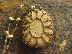 River Rock Necklace  Crocheted Stone  Lace by TheTreeFolkHollow