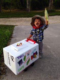 Paletero Elotero Mexican costume  We had fun making the push cart for him!  Halloween 2014