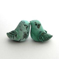 In various colors. Shabby Chic Decor, Mint Green Birds, Cupcake Topper, Terrarium Decoration - Handmade Polymer Clay. $14.00, via Etsy.