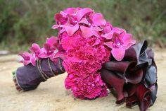 unique deep purple and pink calla wedding bouquet